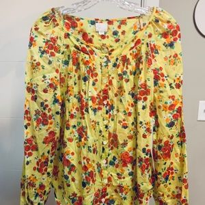 🎉HP🎉🌻NWOT Yellow Floral Anthropologie Blouse🌻